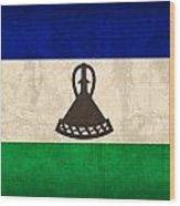 Lesotho Flag Vintage Distressed Finish Wood Print