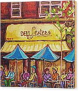 Lester's Deli Montreal Smoked Meat Paris Style French Cafe Paintings Carole Spandau Wood Print