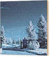 Let It Snow Blue Version Wood Print