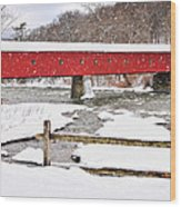Connecticut Covered Bridge Snow Scene By Thomasschoeller.photography  Wood Print
