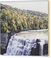 Letchworth State Park Middle Falls Panorama Wood Print