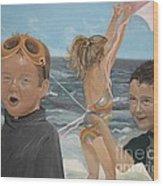 Beach - Children Playing - Kite Wood Print