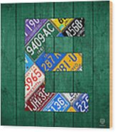 Letter E Alphabet Vintage License Plate Art Wood Print