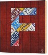 Letter F Alphabet Vintage License Plate Art Wood Print