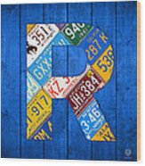 Letter R Alphabet Vintage License Plate Art Wood Print by Design Turnpike