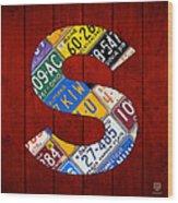 Letter S Alphabet Vintage License Plate Art Wood Print