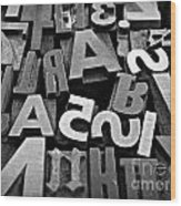 Letters And Numbers 1 Wood Print