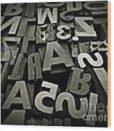 Letters And Numbers Gray Tones Wood Print