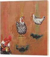 Levitating Chickens Wood Print