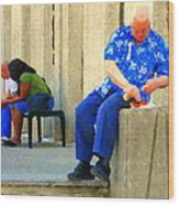 L'homme Orange Quiet Corner On St Catherine Street Downtown Montreal City Scene Carole Spandau Wood Print