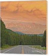 Liard River Valley Alaska Highway Bc Canada Sunset Wood Print