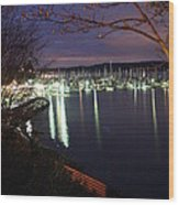 Liberty Bay At Night Wood Print