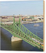 Liberty Bridge And Budapest Skyline Wood Print