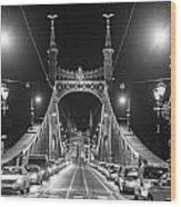 Liberty Bridge At Night Wood Print