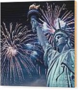 Liberty Fireworks Wood Print