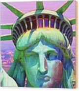 Liberty Head Painterly 20130618 Square Wood Print by Wingsdomain Art and Photography
