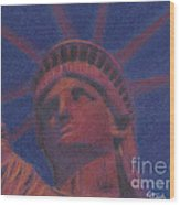 Liberty In Red Wood Print