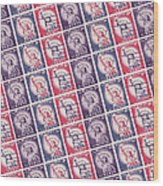 Liberty Stamps Collage Wood Print