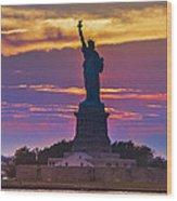 Liberty Statue Silhouette Sunset Wood Print