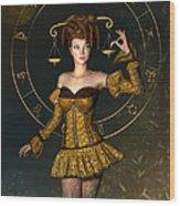 Libra Zodiac Sign Wood Print