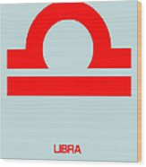 Libra Zodiac Sign Red Wood Print