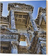 Library Of Celsus Wood Print