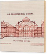 Library Of Congress Design 1877 Wood Print by Mountain Dreams