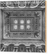 Library Of Congress Main Hall Ceiling Bw Wood Print