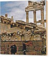 Library On The Pergamum Acropolis-turkey Wood Print
