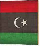 Libya Flag Vintage Distressed Finish Wood Print