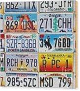 Licence Plates Wood Print