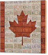License Plate Art Flag Of Canada Wood Print