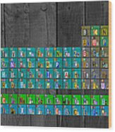 License Plate Art Recycled Periodic Table Of The Elements By Design Turnpike Wood Print