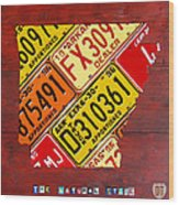 License Plate Map Of Arkansas By Design Turnpike Wood Print by Design Turnpike