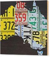 License Plate Map Of Australia Wood Print
