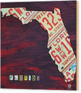 License Plate Map Of Florida By Design Turnpike Wood Print