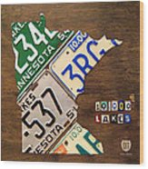 License Plate Map Of Minnesota By Design Turnpike Wood Print