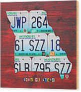 License Plate Map Of Missouri - Show Me State - By Design Turnpike Wood Print by Design Turnpike