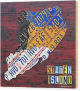 License Plate Map Of Staten Island New York Nyc Wood Print