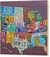 License Plate Map Of The United States Wood Print