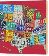 License Plate Map Of The United States On Bright Red Wood Print
