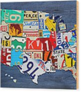 License Plate Map Of The United States - Small On Blue Wood Print