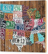 License Plate Map Of The United States - Warm Colors On Pine Board Wood Print by Design Turnpike