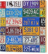 License Plates Of The Usa - Our Colorful American History Wood Print