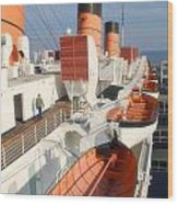 Life Boats 01 Queen Mary Ocean Liner Port Long Beach Ca Wood Print