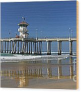 Life Guard Station Reflection On Ocean Sand At Huntington Beach City Pier Fine Art Photography Print Wood Print