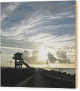 Life Guard Tower And Jetty At Dawn 9-27-14 By Julianne Felton Wood Print