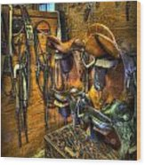 Life On The Ranch - Tack Room Wood Print by Lee Dos Santos