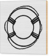 Life Preserver In Black And White Wood Print