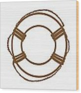 Life Preserver In Brown And White Wood Print